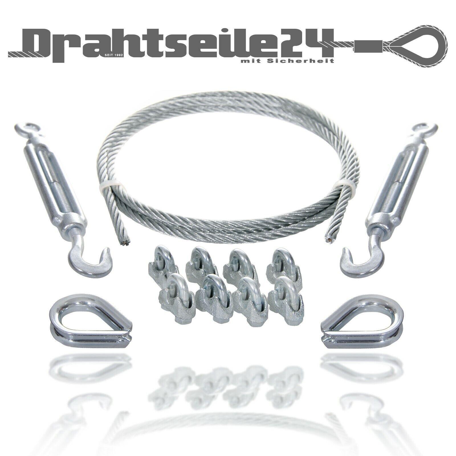 Stahl Draht Seilkabel Drahtkabel Seilset Spannen mit Seilspanner Klemme Kausche