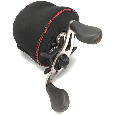 Fish KDS Low Profile Baitcasting Casting Neoprene Reel Cover - Black and Red (Neoprene Fishing Reel Cover)