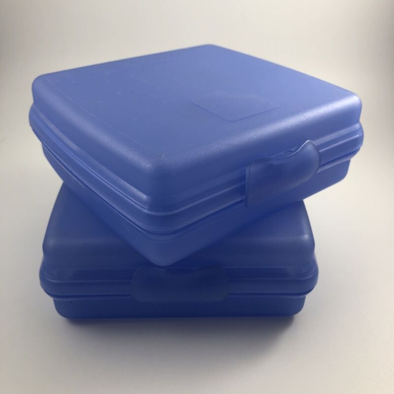Set of 2 Tupperware Square SANDWICH KEEPER One Pc Hinged Design BLUE MADE IN USA