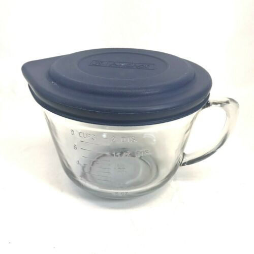 Anchor Hocking 8 Cup Measuring Batter Bowl With Handle Clear With Blue Lid USA