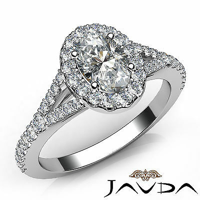 Halo Split Shank Oval Diamond Engagement French U Pave Ring GIA E VVS2 1.21 Ct