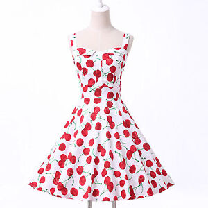 8 FLORAL DOT VINTAGE STYLE 1950's FULL CIRCLE FLARED ROCKABILLY SWING  TEA DRESS