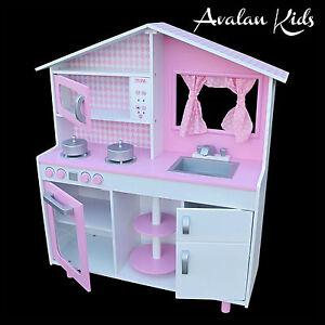 pink wooden kitchen childrens play kitchen avalan kids toy kitchen pretend play ebay. Black Bedroom Furniture Sets. Home Design Ideas