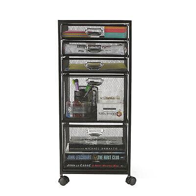 Mind Reader Heavy Duty 5 Tier Drawer Office File Cart Storage Cabinet Black