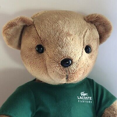"Lacoste Brown Teddy Bear Perfume Advertising Parfum Limited Edition Plush 14"", used for sale  Shipping to India"