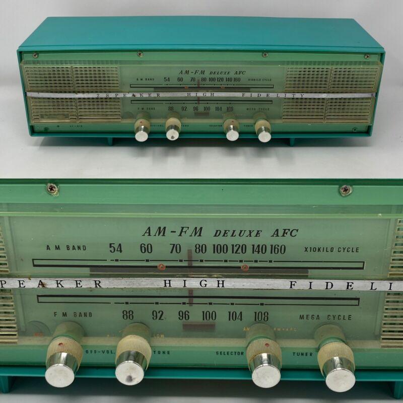 Vintage Turquoise AM FM Japan SEAWAY Model AF-610 RADIO 2 Speaker High Fidelity