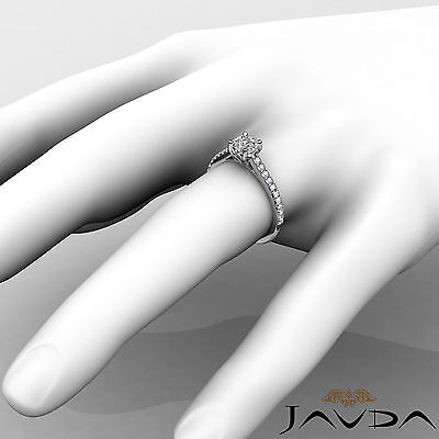 Cushion Shape French V Pave Diamond Engagement Ring GIA Certified F VVS2 1.01Ct 4