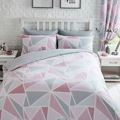 METRO GEOMETRIC TRIANGLE PINK GREY DUVET COVER SET SINGLE DOUBLE KING / CURTAINS