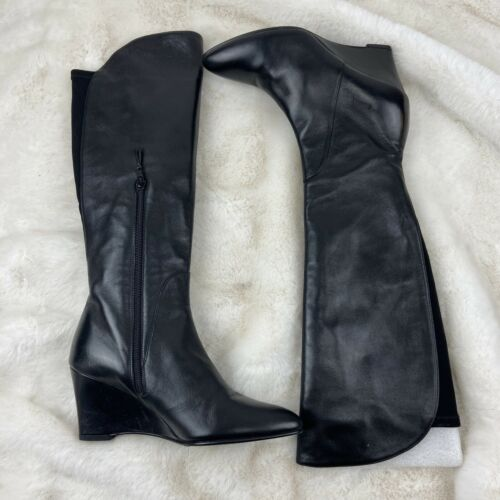 Stuart Weitzman Wedge Heel Knee High Black Leather Boot Sz:7