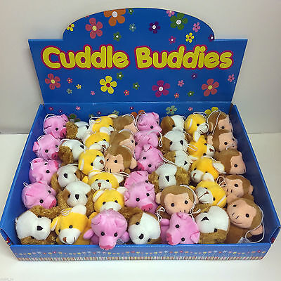 "Wholesale Job Lot 48 x Cuddle Buddies Cute 3"" Plush Soft Toy Danglers in a CDU"