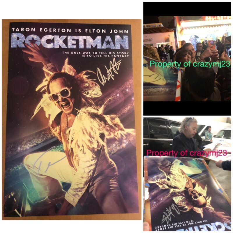 Taron Egerton Dexter Fletcher Signed Rocketman poster Autograph Elton John Proof