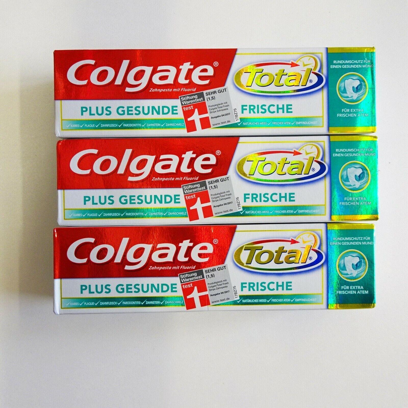 Colgate Total Plus Gesunde Frische Zahnpasta extra frische Atem Triclosan 3x75ml