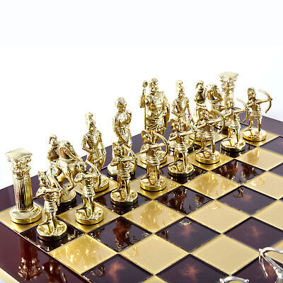 Manopoulos Archers Large Chess Set - Brass&Nickel - Red chess Board (Red Brass Chess Board)