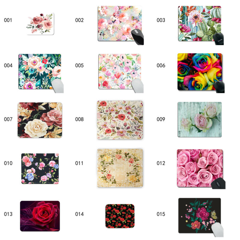 Rose Mouse Pads, Watercolor Mousepad, Rectangular Mousepad, Cute Gift for Her