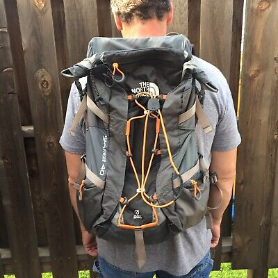 X North Face Skareb 40 Backpack Grey With Yellow Cover