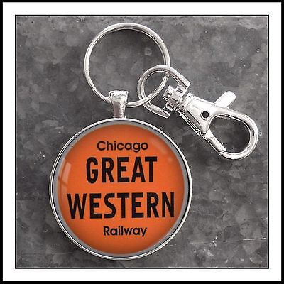 Vintage Railroad Sign Chicago Great Western Railway RR Photo Keychain