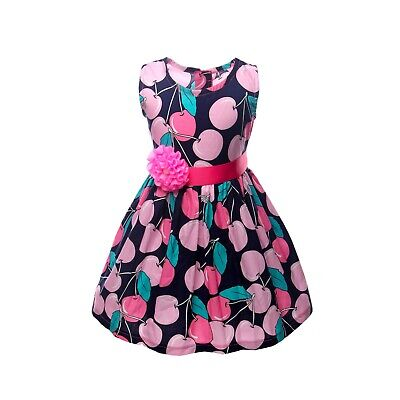 NEW Kid Girl Spring Summer Cherry Dress Holiday Party Pink Navy Blue SZ 4-5 Z7C