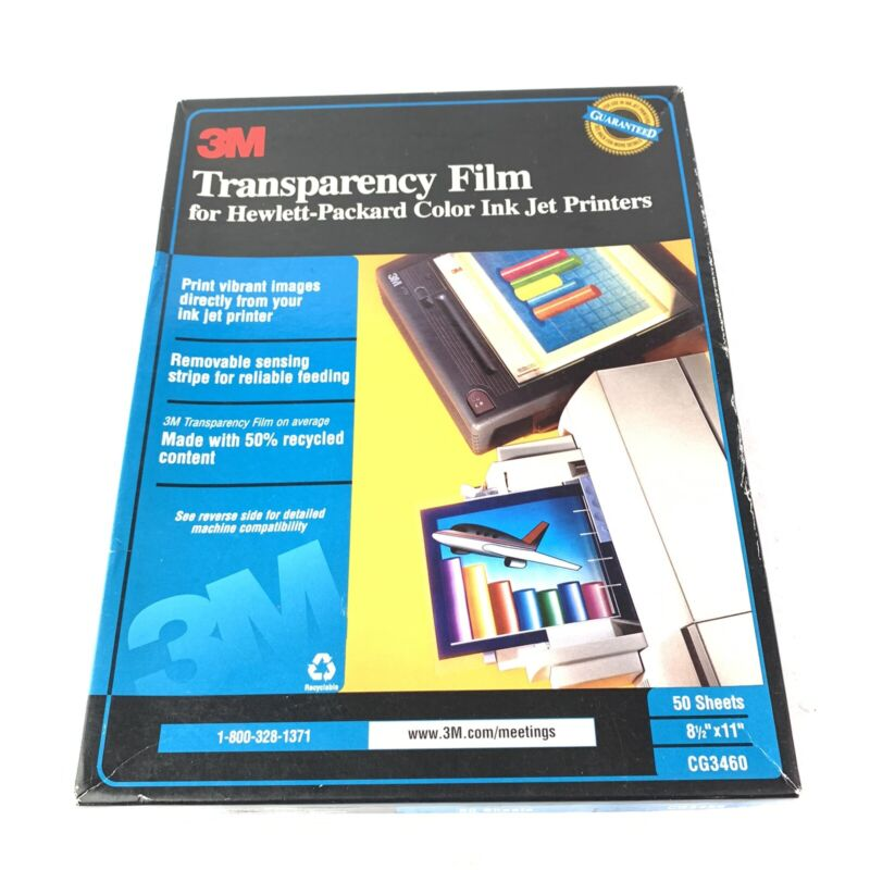 NEW Open Box 3M Transparency Film 50 sheets CG3460