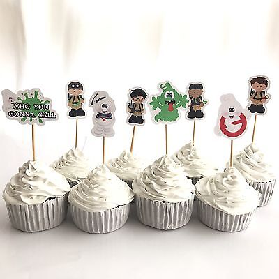 👻12x Ghostbusters Cupcake Topper Pick. *HANDMADE* Party Supplies Lolly Loot Bag