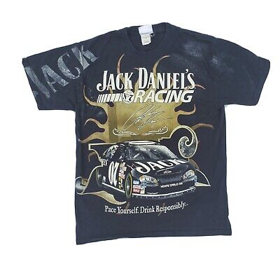 2 Sided Vintage Jack Daniels Lives Here Racing All Over Print T-Shirt Mens -