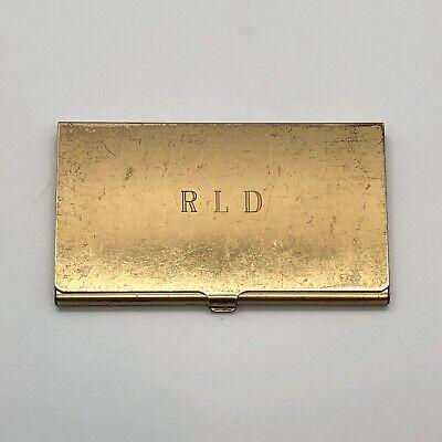 Vintage Pocket Business Card Holder Brass Metal Engraved