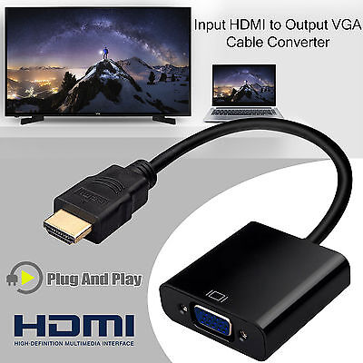 1080P HDMI Male to VGA Female Video Cable Cord Converter Adapter for PC HDTV TV
