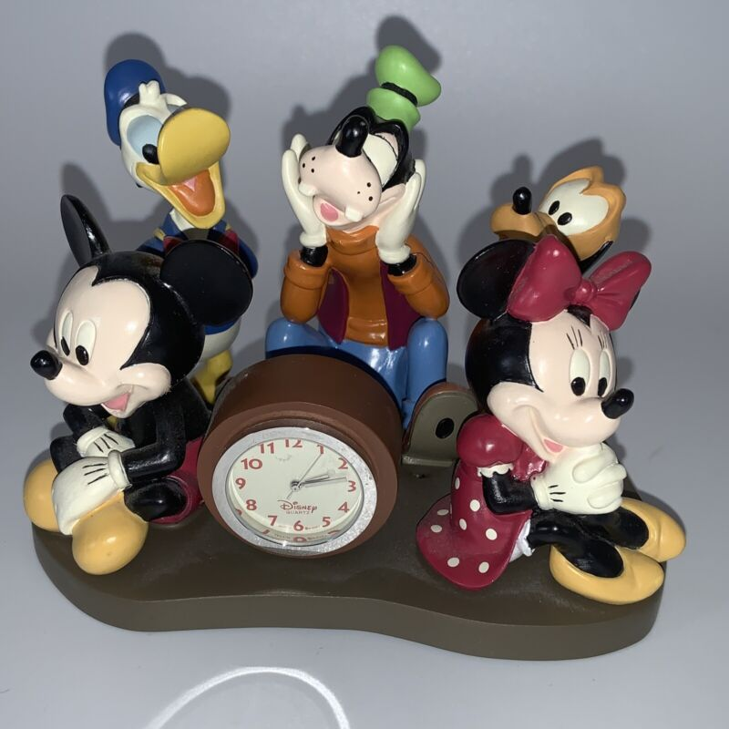 Walt Disney World Desk Clock with Box  Mickey & Friends Pluto Goofy Donald Duck