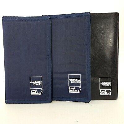 American Express Amex Lot 3 Blue Nylon Black Vinyl Guest Check Folder Presenter