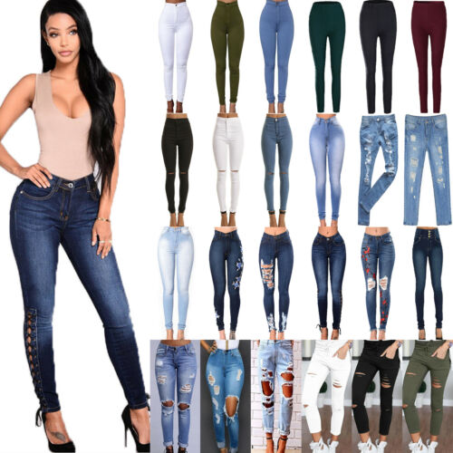 Womens High Waist Skinny Jeans Demin Slim Stretch Trousers E