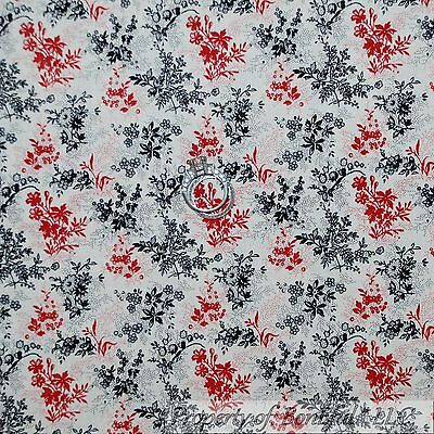 BonEful Fabric Cotton Quilt White Black Red B&W Flower Small Q Xmas Calico SCRAP Cottage Bed Tent