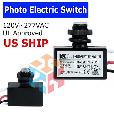 2x Photoelectric Photocell Dusk To Dawn Button Flush Mount Photo Control Switch