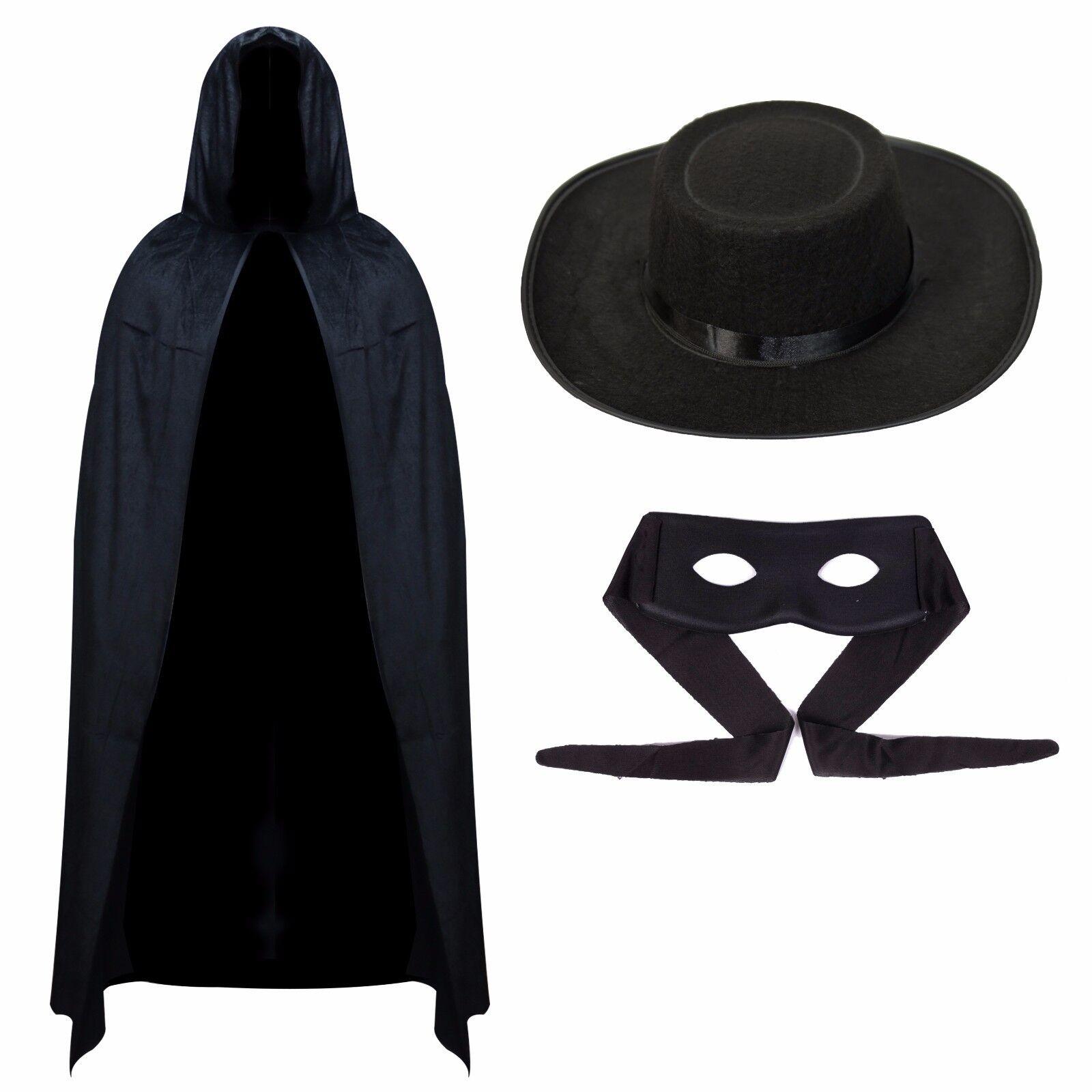 Mens Value Zorro Halloween Masquerade Outfit - Black Cape, E