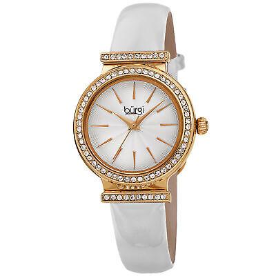 Women's Burgi BUR230WT White Swarovski Crystal Guilloche Leather Strap Watch