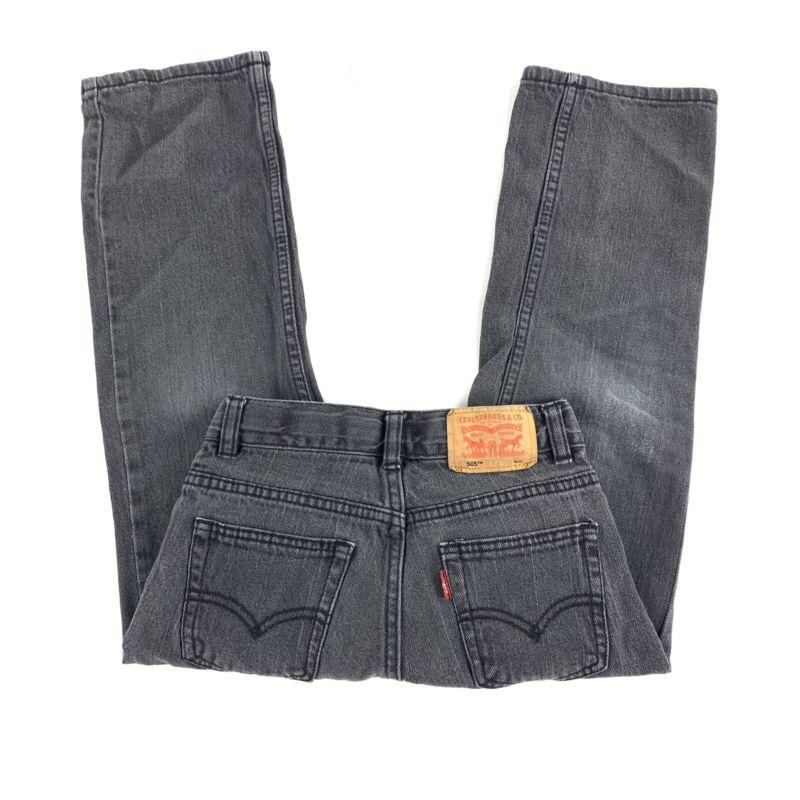 Kids Levis 505 Black Gray Denim Jeans Size 6 Regular (21x19) Red Tab Pants