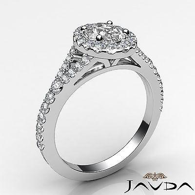 Halo Oval Natural Diamond Engagement Split Shank Prong Ring GIA F VVS2 1.21 Ct 1
