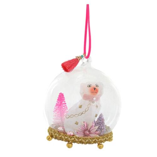 Cody Foster Glass Dog Christmas Diorama Globe Ornament Pink Retro Vntg Decor