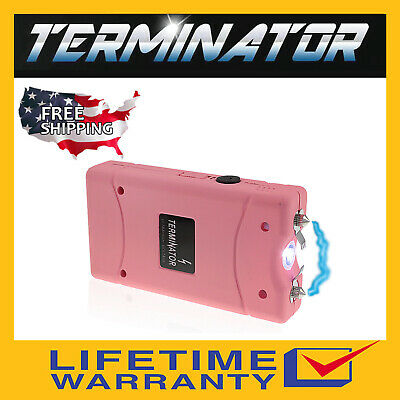 TERMINATOR SGT801 - 6000 BV RECHARGEABLE POLICE FLASHLIGHT STUN GUN +TASER CASE