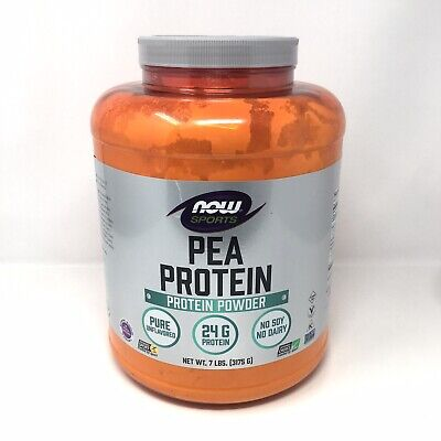 Now Sports Nutrition Pea Protein Fast Absorbing Unflavored Powder 7lbs 07/2023