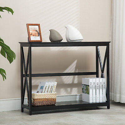 2 Tier Black Console Table Accent Tables with Storage Shelf Hallway Furniture