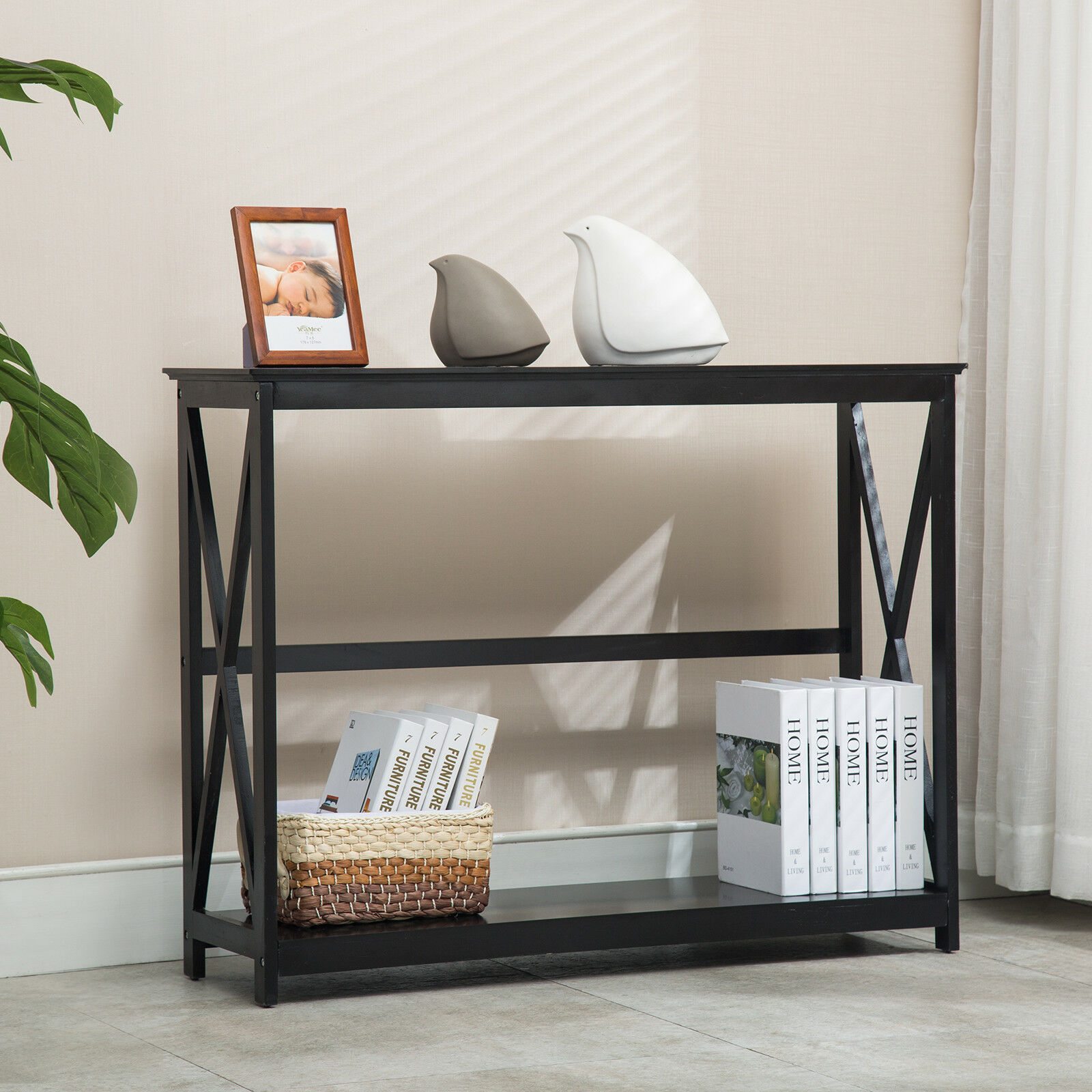 premium selection c096b 9f253 Details about 2 Tiers Black Console Table Accent Tables with Storage Shelf  Hallway Furniture