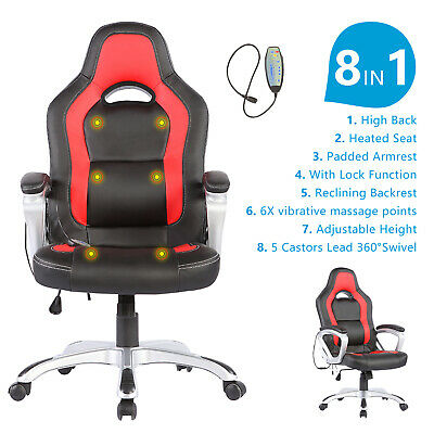 Heated Vibrating Race Car Computer Office Massage Chair Pu Leather Ergonomic
