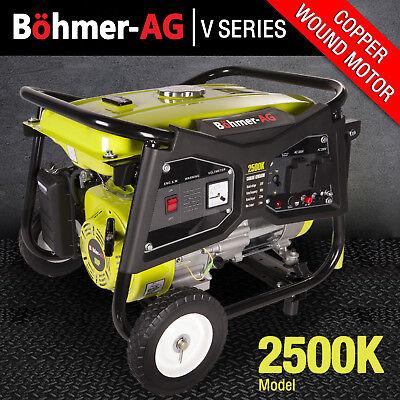 Portable Petrol Generator ~ 2200w 2.8 KVA, 4 Stroke, 6HP 2500K Bohmer Pull Start