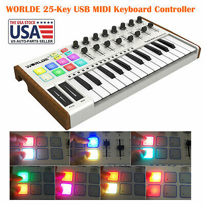 25-Key USB MIDI Keyboard Controller 8 RGB Backlit Trigger Pads 6.35mm Jack S3Y6 - $82.68