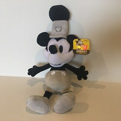 Disney Mickey Mouse Plush Steamboat Willie 90 Years Magic Just Play Black White