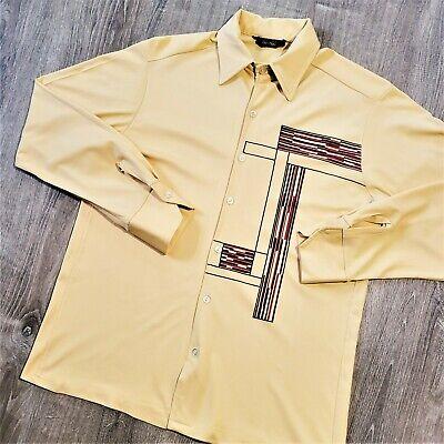 1970s Men's Shirt Styles – Vintage 70s Shirts for Guys Vintage 70s Niki Niki Nylon Disco Shirt Vtg 1970s Retro Abstract Atomic Art Sz M $79.00 AT vintagedancer.com