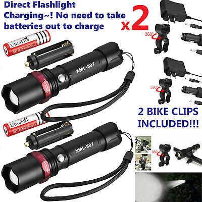 Rechargeable Torch - 2 PACK 20000lm USB Rechargeable CREE T6 LED Tactical Flashlight Torch Eaglehawk