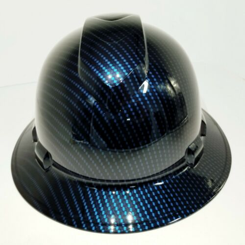 NEW FULL BRIM Hard Hat custom hydro dipped Deep blue candy carbon fiber sick  4