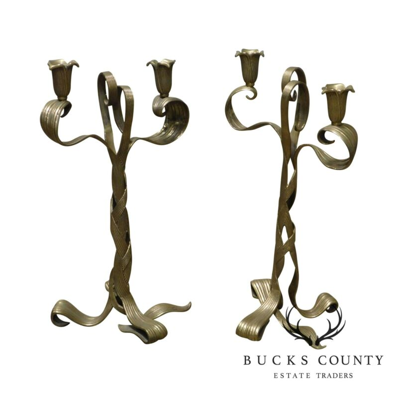 Art Nouveau Style Quality Pair Brass Double Candlestick Holders