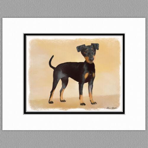 Manchester Terrier Dog Original Art Print 8x10 Matted to 11x14