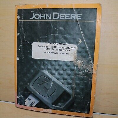 John Deere 644j 742j Wheel Loader Technical Repair Shop Service Manual Book 2010
